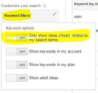 keyword planner options